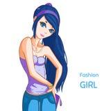 Девушка моды с голубыми волосами Стоковые Изображения