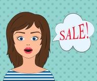 Девушка моды с пузырем речи Пузырь продажи Стоковое Фото
