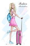 Девушка моды с чемоданом Стильная женщина белокурых волос в одеждах моды эскиз Комплект перемещения иллюстрация вектора