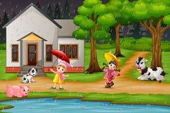 Девушка мультфильма 2 играя с животными под дождем иллюстрация штока