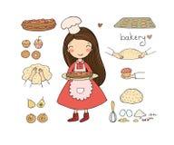 Девушка мультфильма печет торт на белой предпосылке милые повара женщины в кухне Небольшая домашняя пекарня Небольшая домашняя пе иллюстрация штока