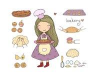 Девушка мультфильма печет торт на белой предпосылке милые повара женщины в кухне Небольшая домашняя пекарня Небольшая домашняя пе бесплатная иллюстрация