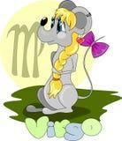 Девушка мыши с символом Virgo иллюстрация штока