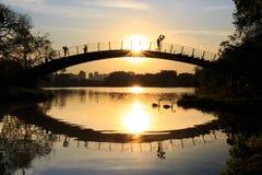 Девушка наблюдая заход солнца озером, с в форме сердц воздушным шаром, парк Ibirapuera, Сан-Паулу, Бразилия Стоковые Фотографии RF