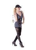 девушка надевает наручники руки ее усмехаться удерживания Стоковые Фото