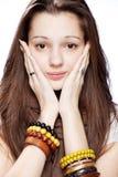 девушка над подростковой белизной Стоковое Фото