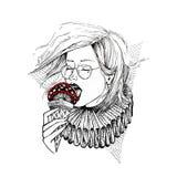 Девушка нарисованная рукой в стеклах ест гриб ввиду мороженого Отрава ест Иллюстрация эскиза вектора Тема татуировки иллюстрация вектора