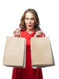 Девушка наслаждается ходить по магазинам на продаже Стоковые Изображения RF
