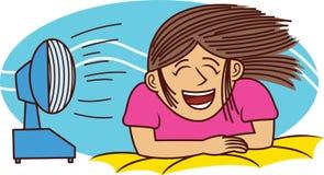 Девушка наслаждаясь иллюстрацией шаржа вентилятора дуя Стоковое Фото