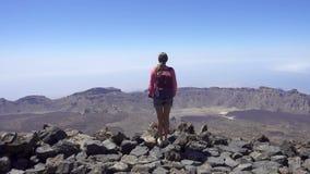 Девушка на верхней части горы акции видеоматериалы