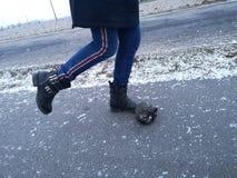 Девушка на дороге пробует нажать утес стоковые фотографии rf