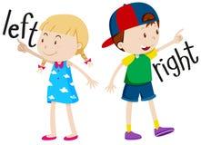 Девушка на левой стороне и мальчик на праве иллюстрация штока