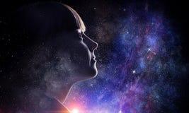 Девушка на звёздном небе Мультимедиа стоковые фото