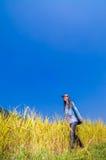 Девушка на золотых террасах Стоковое фото RF