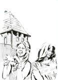 Девушка на каникулах черно-белых Бесплатная Иллюстрация