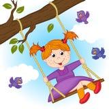 Девушка на качании на ветви дерева бесплатная иллюстрация