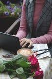 Девушка на компьютере стоковые фотографии rf