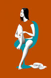 Девушка на красной предпосылке Иллюстрация вектора