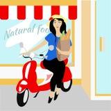 Девушка на красном самокате бесплатная иллюстрация