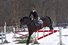 Девушка на лошади скачет над барьером Жокей девушки тренировки ехать лошадь Пасмурный зимний день Стоковые Фотографии RF