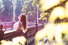 Девушка на мосте Стоковое Изображение RF