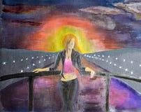 Девушка на мосте Meryl через водяной канал стоковая фотография rf