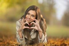 Девушка на осени Стоковая Фотография