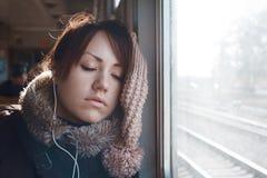 Девушка на поезде Стоковое Фото