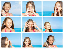 Девушка на предпосылке моря Стоковая Фотография