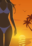 Девушка на пляже захода солнца Стоковое Изображение RF