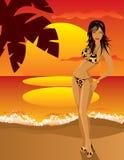 Девушка на пляже иллюстрация штока