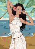 Девушка на пляже бесплатная иллюстрация