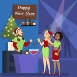 Девушка на рождественской вечеринке в клубе бесплатная иллюстрация