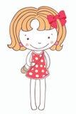 Девушка на розовом шарже платья изолировала предпосылку Стоковые Изображения RF