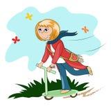 Девушка на самокате Стоковые Фото