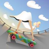 Девушка на скейтборд иллюстрация штока