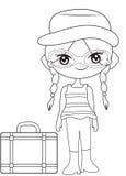 Девушка на странице расцветки перемещения иллюстрация вектора