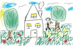 Девушка на glade около дома иллюстрация вектора