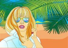 Девушка на morya берега palmy солнечный день Иллюстрация Vektor Стоковые Изображения RF