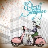 Девушка на moto Стоковые Фотографии RF