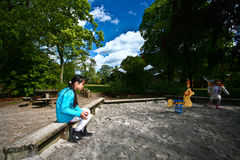 Девушка на playfield в Дании Стоковые Изображения RF