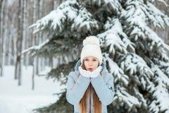 Девушка нося теплые одежды зимы и низовую метель шляпы в лесе зимы, горизонтальном Стоковые Изображения RF