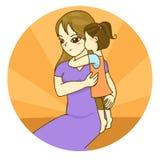 Девушка обнимает ее мать иллюстрация штока