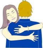 Девушка обнимает человека иллюстрация вектора