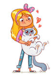 Девушка обнимая котенка иллюстрация штока