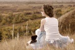 девушка обрыва унылая Стоковая Фотография RF