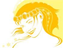 девушка одуванчиков chaplet Иллюстрация вектора