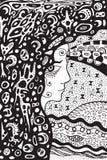 Девушка оккультного шамана готическая Старая богиня луны doodle иллюстрация вектора