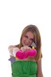 Девушка ломает сердце Стоковая Фотография