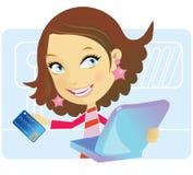 девушка он-лайн подготавливает магазин к Стоковые Фотографии RF
